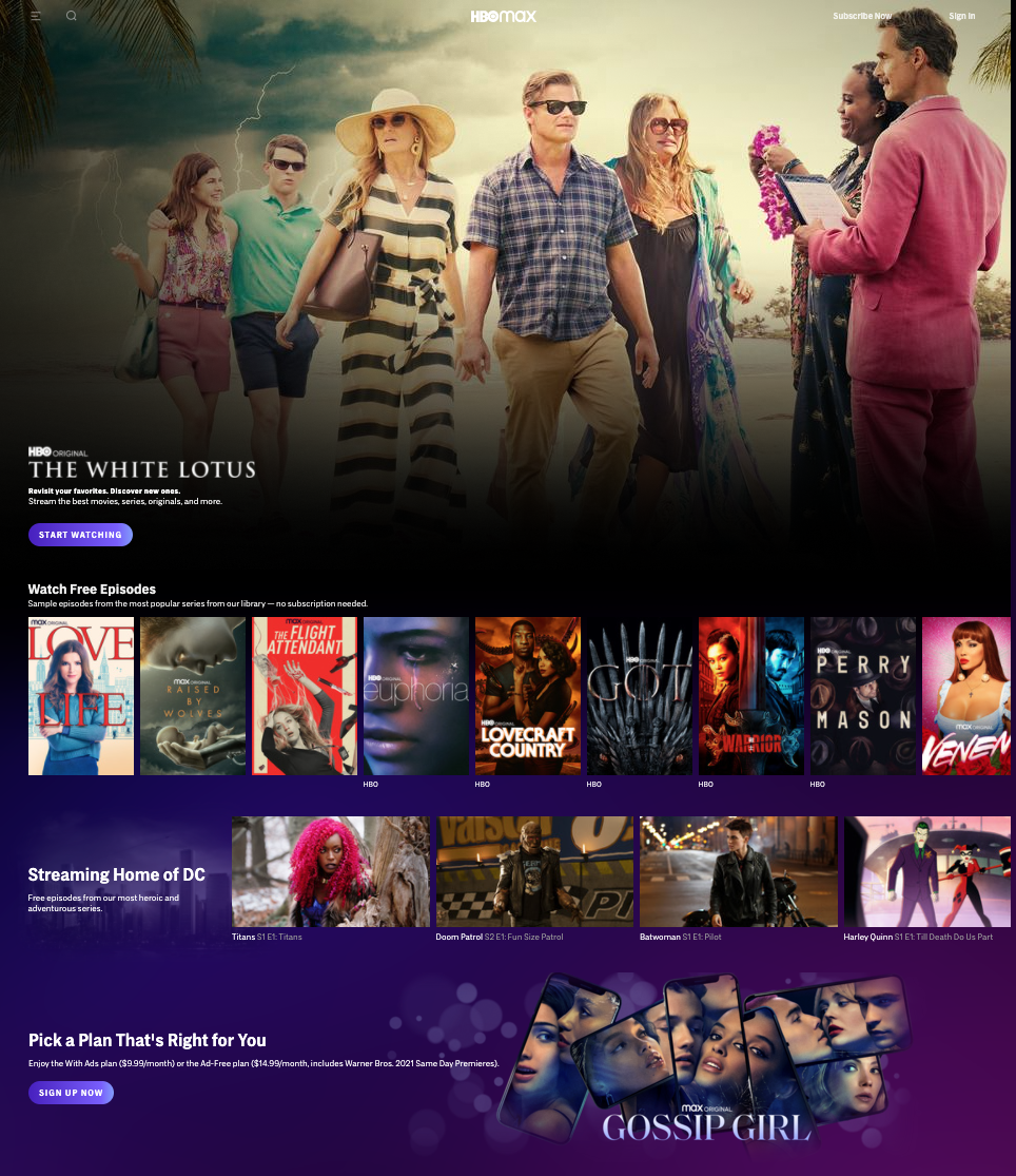 HBO Max Watch Free Homepage