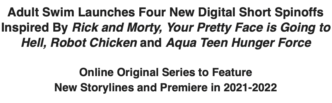 Adult Swim Digital Shorts Announce_May Upfronts 2021