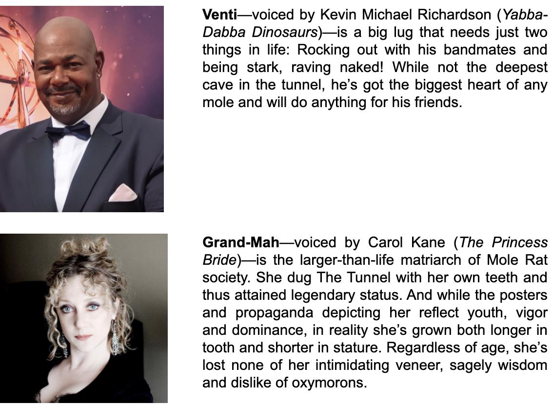 Kevin Michael Richardson, Carol Kane Character Descriptions/Headshots