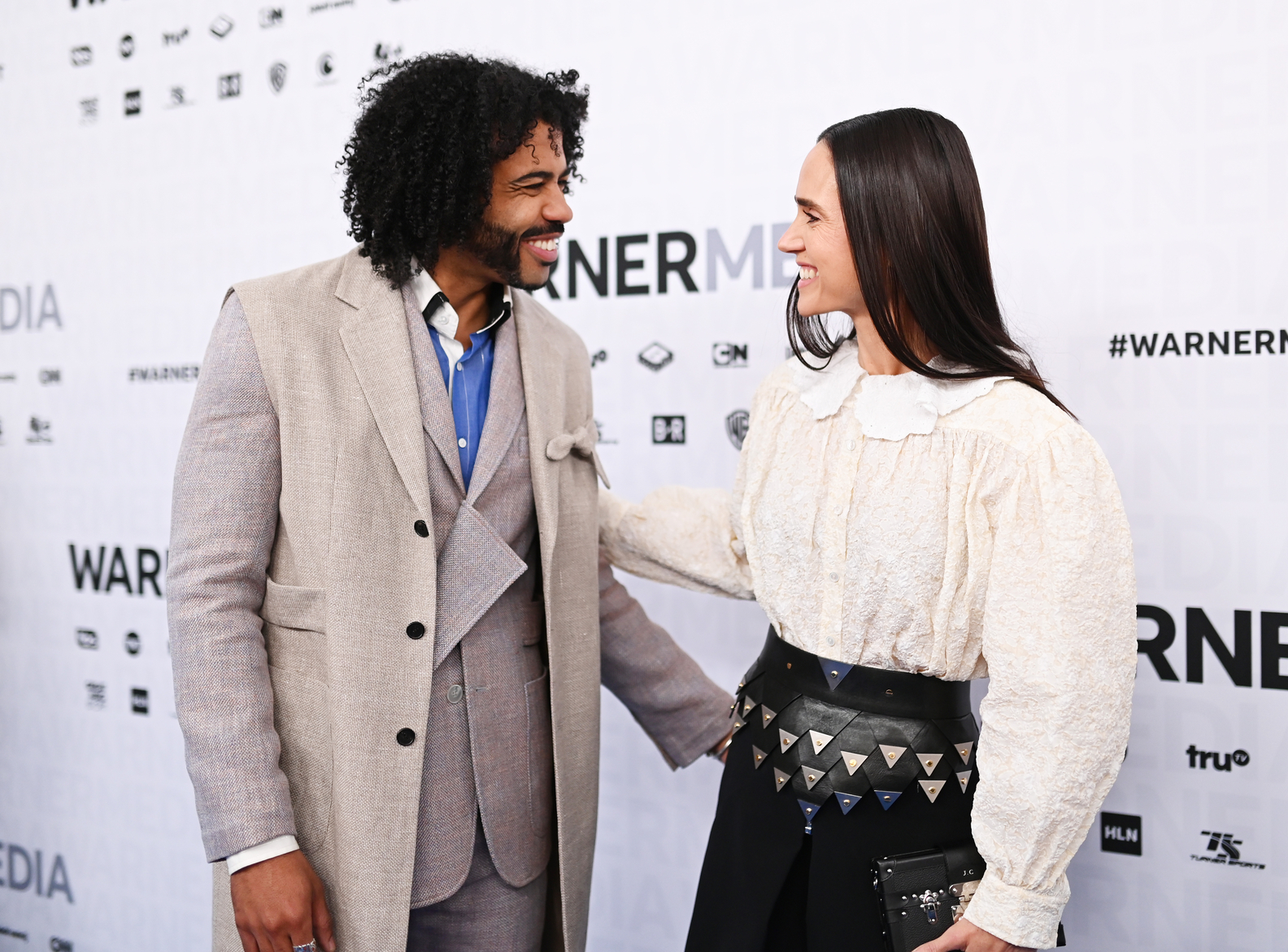 Daveed Diggs and Jennifer Connelly of TBS's Snowpiercer on the red carpet at WarnerMedia Upfront 2019 at The Theater at Madison Square Garden on May 15, 2019 in New York City.