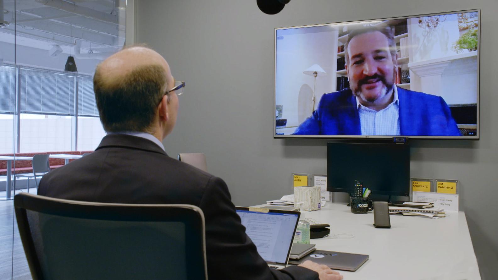 Axios co-founder Mike Allen interviewing Senator Ted Cruz (R-TX)