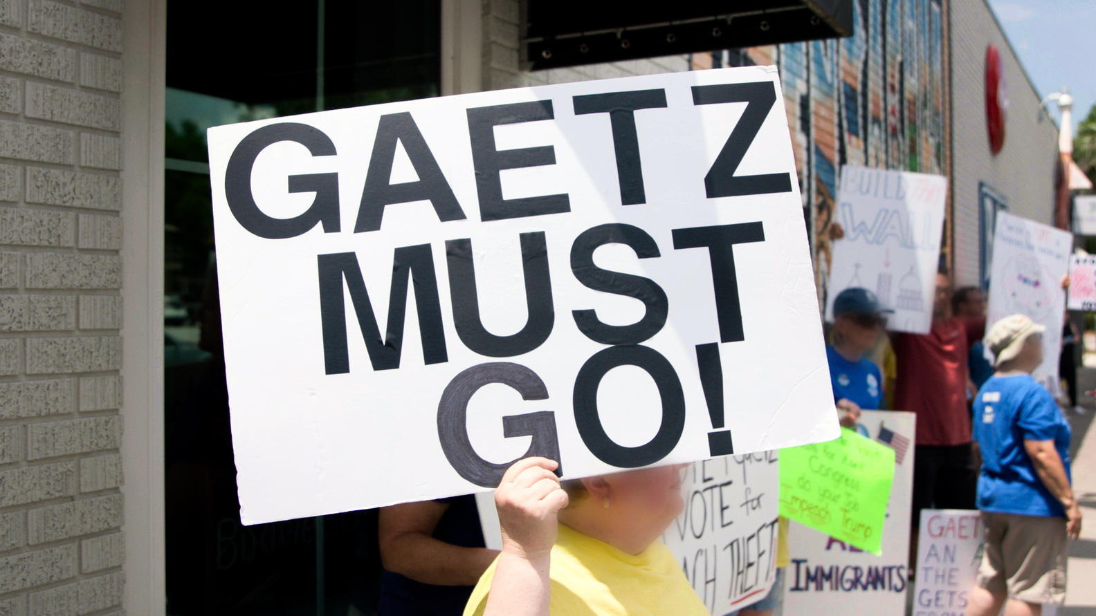 Matt Gaetz (R-FL) protest signs in his district in Florida