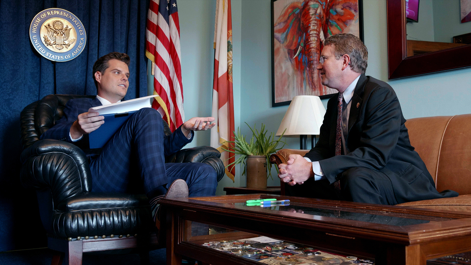 Rep. Matt Gaetz (R-FL) and Rep Thomas Massie (R-KY) talking about fundraising in Gaetz's office