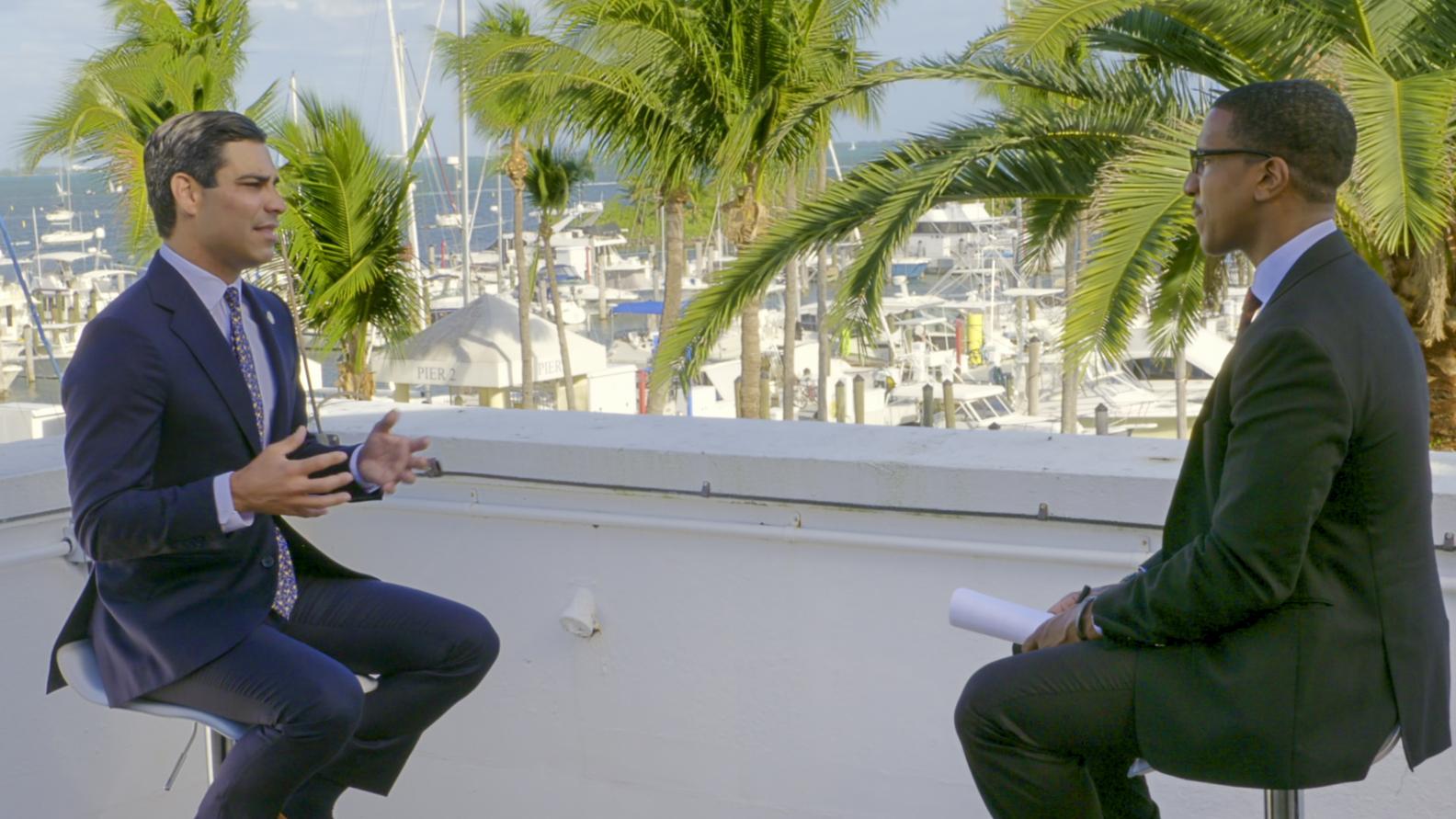 Miami Mayor Francis Suarez, Axios markets editor Dion Rabouin