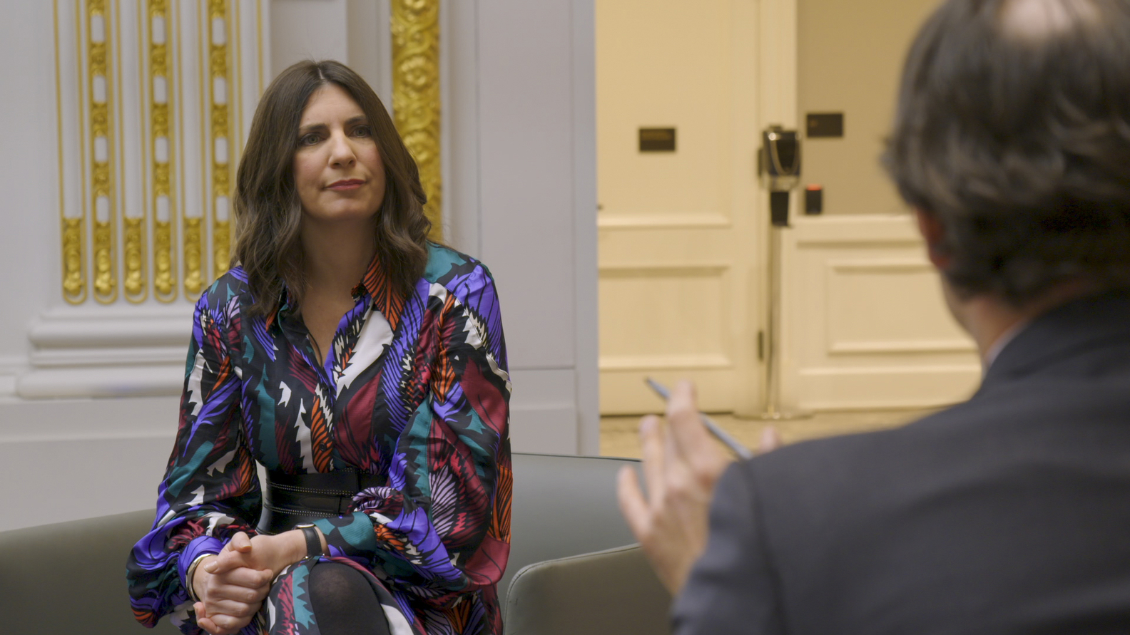 President of the New York Stock Exchange Stacey Cunningham, Axios business editor Dan Primack