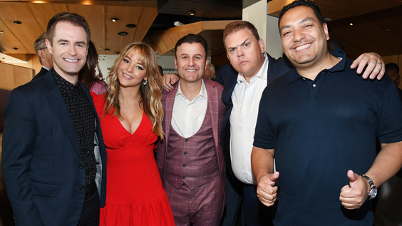 Michael Torpey of truTV's Paid Off with Michael Torpey, Hassie Harrison, Steve Lemme and Kevin Heffernan of truTV's Tacoma FD, and Cipha Sounds of truTV's Laff Mobb's Laff Tracks at the WarnerMedia Upfront 2019.