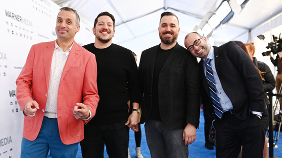 Joe Gatto, Sal Vulcano, Brian Quinn and James Murray of truTV's Impractical Jokers and TBS's Misery Index on the red carpet at WarnerMedia Upfront 2019