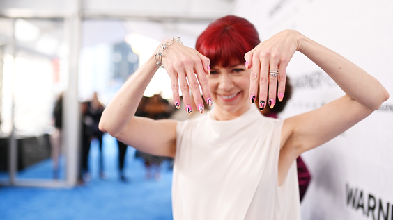 Carrie Preston of TNT's Claws on the red carpet at WarnerMedia Upfront 2019.
