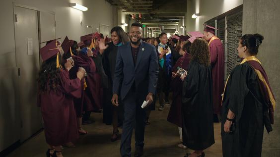 Mayor Michael Tubbs with graduating high school students