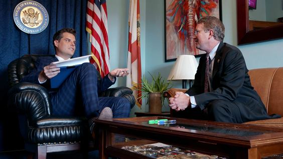 Rep. Matt Gaetz (R-FL) and Rep Thomas Massie (R-KY) talking about fundraising in Gaetz's office