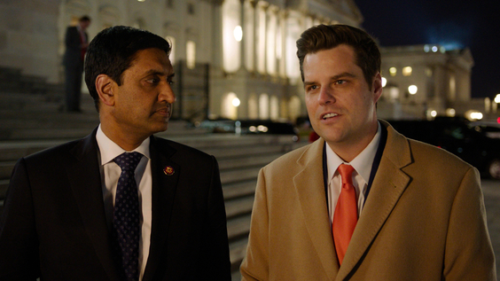 Rep. Ro Khanna (D-CA) and Rep. Matt Gaetz (R-FL) on the steps of the Capitol discussing how they voted on the NDAA