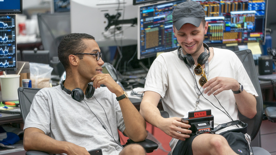 Creators and executive producers Mickey Down and Konrad Kay behind the scenes of INDUSTRY