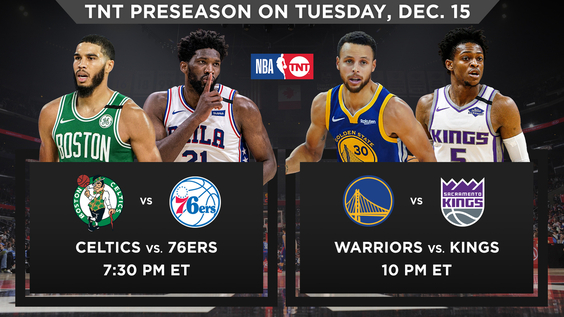 NBA on TNT to Showcase Preseason Doubleheader on Tuesday, Dec. 15 – Celtics vs. 76ers and Warriors vs. Kings – Beginning at 7:30 p.m. ET