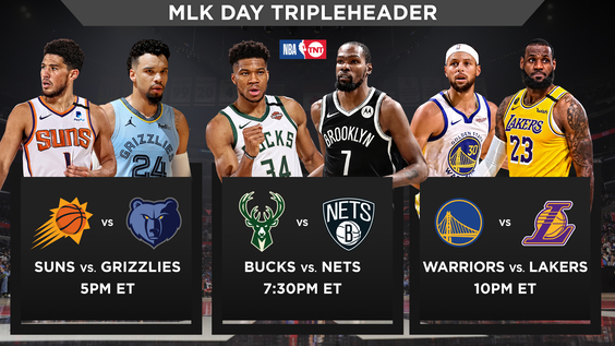 NBA on TNT MLK Day Tripleheader to Feature League MVPs Giannis Antetokounmpo, LeBron James, Kevin Durant and Stephen Curry in Action, Monday, Jan. 18