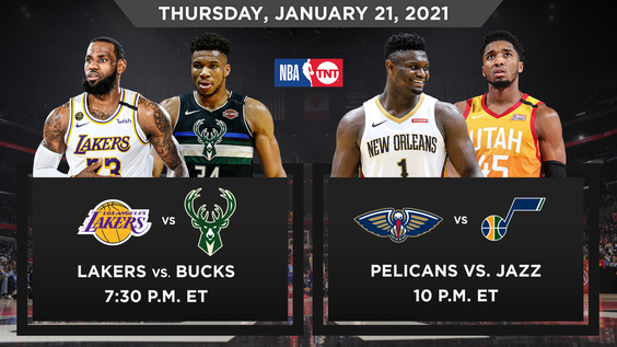 NBA on TNT Doubleheader to Showcase Some of League's Best Teams & Emerging Stars – LeBron James, Giannis Antetokounmpo, Zion Williamson and Donovan Mitchell – Thursday, Jan. 21