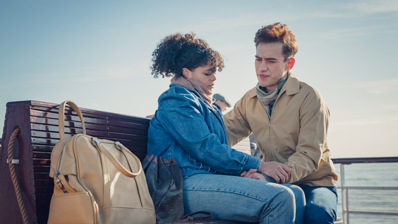 Lydia West as Jill Baxter and Olly Alexander as Ritchie Tozer