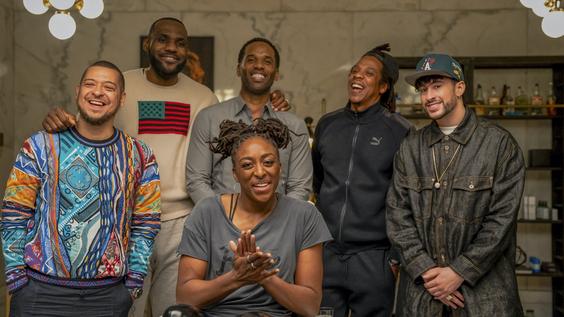 Paul Rivera, LeBron James, Maverick Carter, Nneka Ogwumike, Jay-Z and Bad Bunny