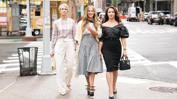 "Cynthia Nixon as ""Miranda Hobbes,"" Sarah Jessica Parker as ""Carrie Bradshaw,"" Kristin Davis as ""Charlotte York."""