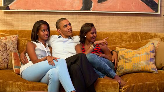 President Barack Obama and his daughters, Malia and Sasha