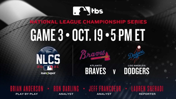 TBS's Exclusive Coverage of 2021 National League Championship Series presented by loanDepot – Atlanta Braves vs. Los Angeles Dodgers – to Continue with Game 3, Today, Tuesday, Oct. 19, at 5 p.m. ET