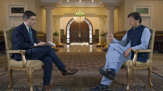Jonathan Swan, Axios National Political Correspondent; Imran Khan, Prime Minister of Pakistan