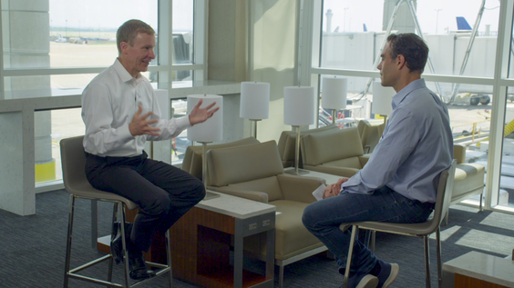 Scott Kirby, CEO of United Airlines; Axios Business Editor Dan Primack