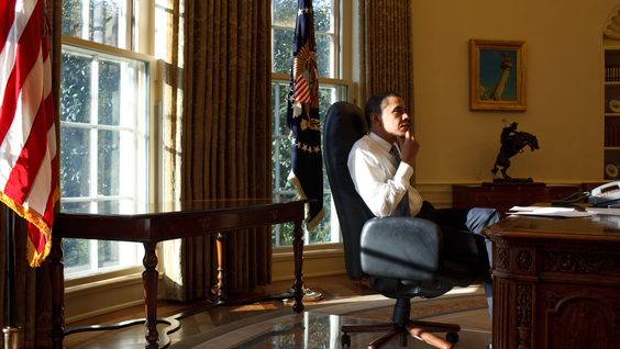 President Barack Obama in the Oval Office on his first day in office 1/21/09