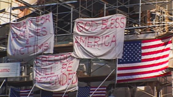 Banners at 9/11 Ground Zero